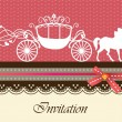 Invitation card with carriage & horse ver. 2 — ストックベクタ