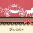 Invitation card with carriage & horse ver. 2 — Vector de stock