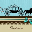 Invitation card with carriage & horse ver. 3 — ストックベクタ
