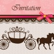 Invitation card with carriage & horse ver. 4 — ストックベクタ