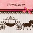 Invitation card with carriage & horse ver. 4 — Vector de stock