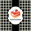 Vintage card with cake 07 — Stock Vector