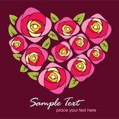 Greeting rose heart 01 — Stock Vector