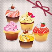 Set of various cupcakes — Stock Vector