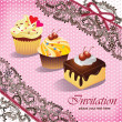 Vintage card with cupcake & cake — Stock Vector