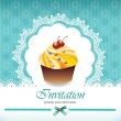 Vintage card with cupcake 09 — Stock Vector