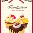 Vintage card with cupcake & cake 014 — Stock Vector