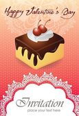 Vintage card with cake 013 — Stock Vector