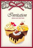 Cartão vintage com cupcake & bolo 014 — Vetor de Stock
