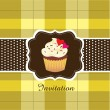 Stock Vector: Vintage card with cupcake ver. 2