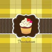 Vintage card with cupcake ver. 2 — Stock Vector