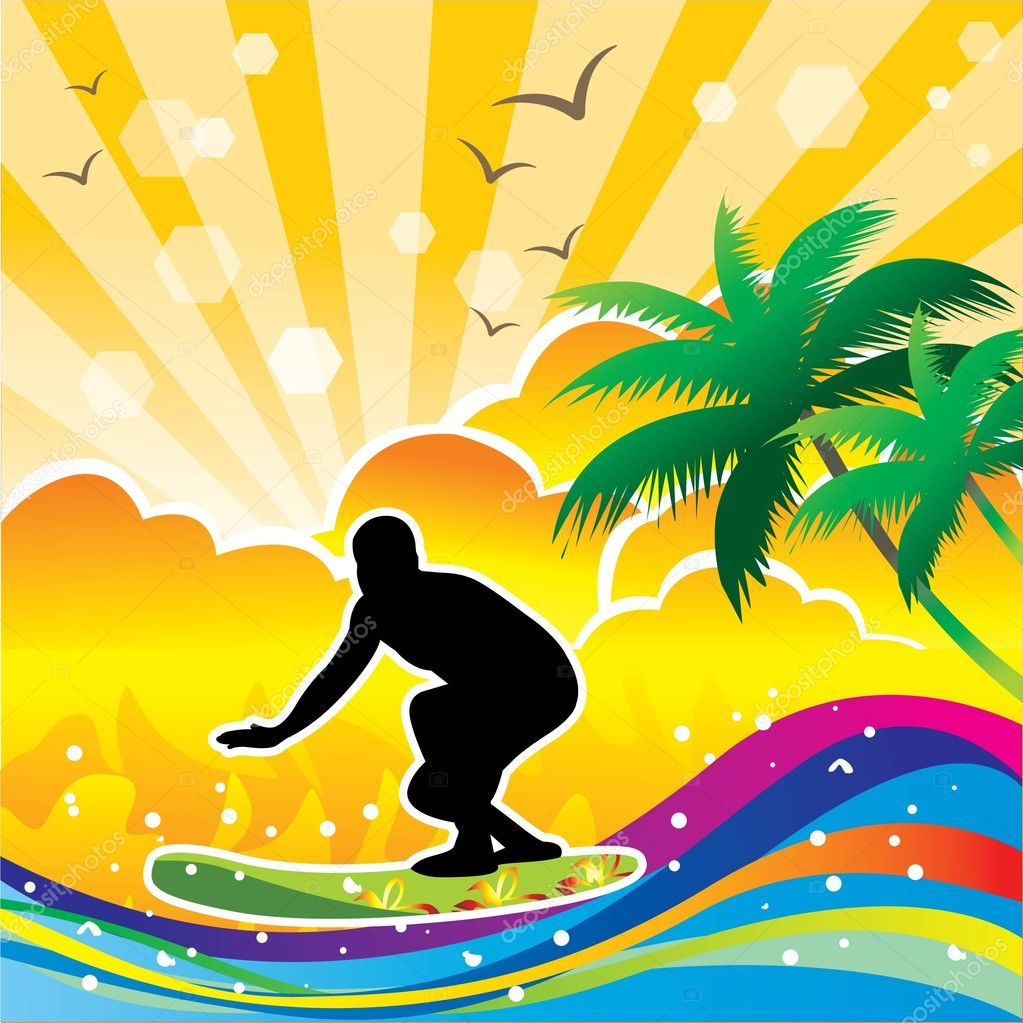 Vector surfing background — Vettoriali Stock  #9919600