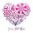 Greeting floral heart ver. 2 — Vector de stock #9969921