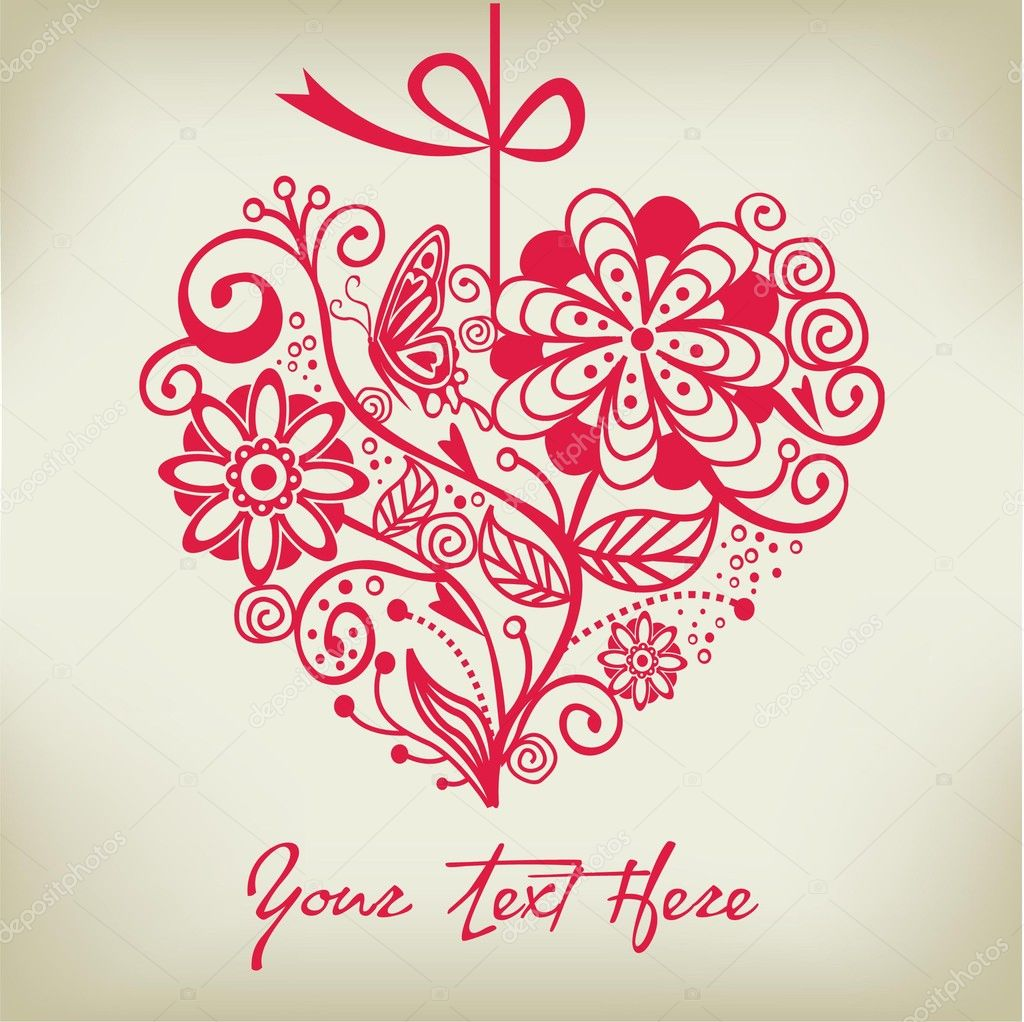 Greeting floral heart ver. 1  — Stock Vector #9969903