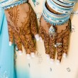 Indian bride with henna hands — Stock Photo #9951798