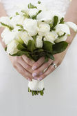 Vibrant natural bridal bouquet white roses — Stock Photo