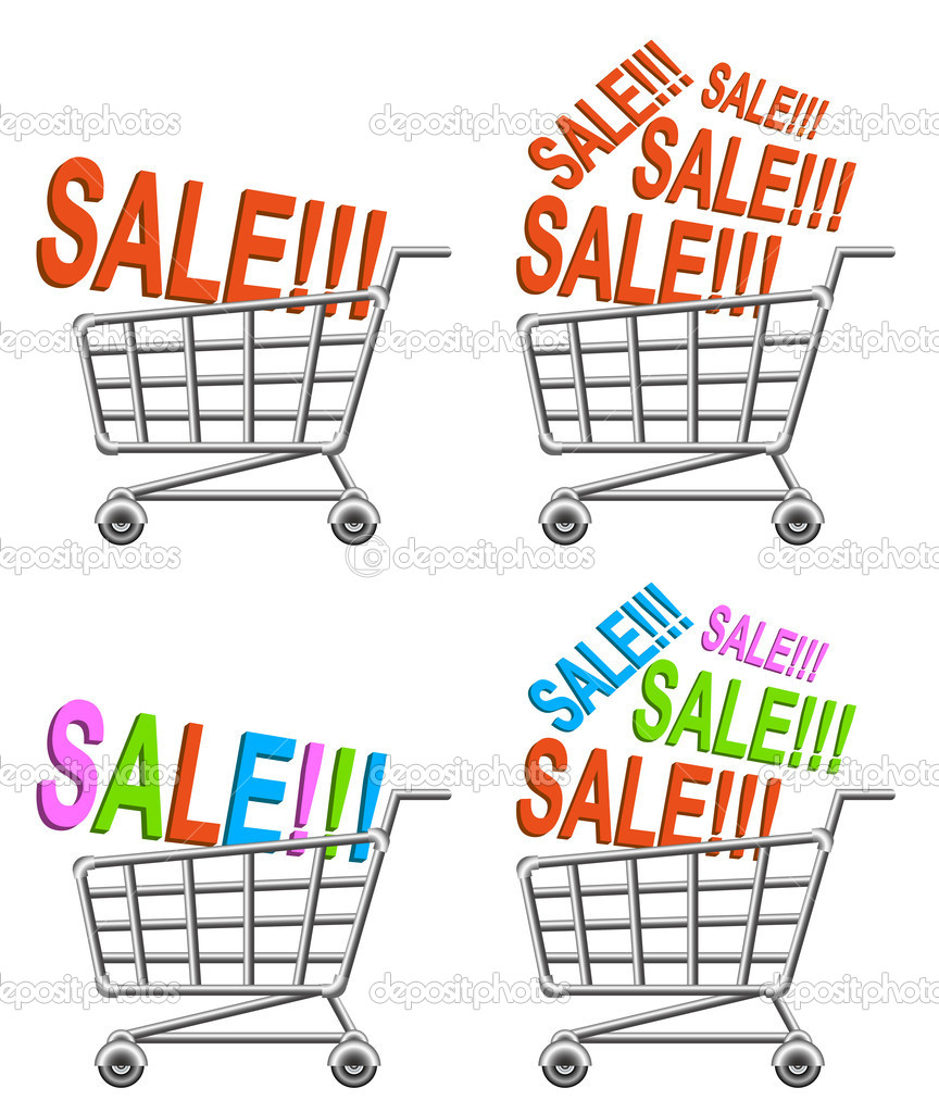 Shoppingcart and sale; isolated vector illustration — Stock Vector #10048792
