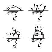 Conjunto de iconos de restaurantes — Vector de stock