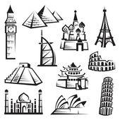Set of landmarks — Stock Vector