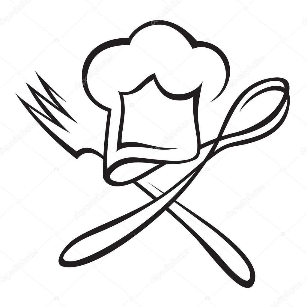 Chef hat with spoon and fork — Stock Vector © alexkava ...