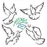 Set of pigeons — Stock Vector