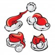 Santa hats set — Stock Vector