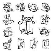 Set of food and goods icons — Stock Vector