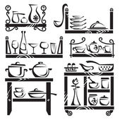Kitchen utensils on shelves — Vector de stock