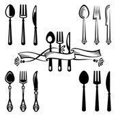Couteau, fourchette et cuillère — Vecteur