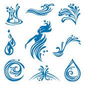 Iconos de agua — Vector de stock