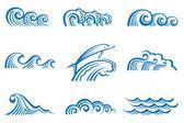 Reeks van golven — Stockvector