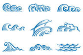 Set of waves — Vector de stock