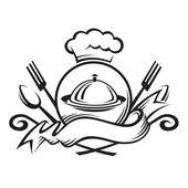 Chapéu de chef com colher, garfo e prato — Vetor de Stock