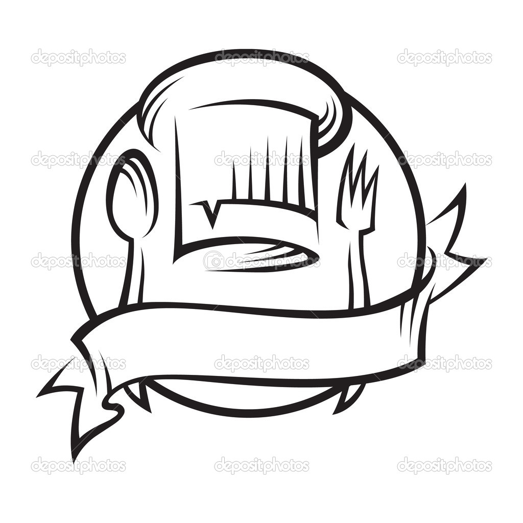 Chef hat with spoon and fork — Stock Vector © alexkava #9934262