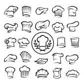 Uppsättning av kocken hattar — Stockvektor