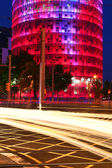 Agbar Tower with car lights — Stock Photo