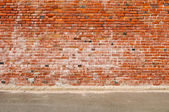 Old Brick Wall and Road Street — Стоковое фото