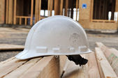 Hard Hat at Construction Site — Stock Photo