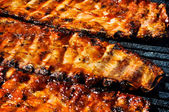 BBQ Pork Ribs on the Grill — Stock Photo