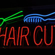 Haircut Neon Sign with Scissors and Comb — Stock Photo