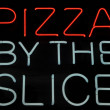 Pizza by the Slice Neon Sign — Stock Photo