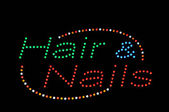 Hair and Nails Neon Sign — Stock Photo