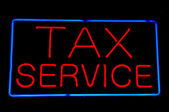 Tax Service Red Neon Sign — Stock Photo