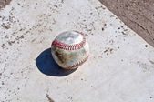 Baseball Close Up on Home Plate — Stock Photo