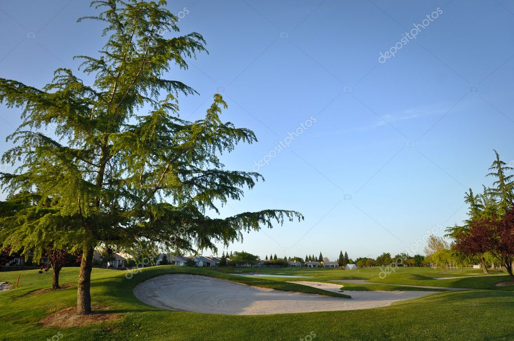 Golf Course in Residential Area with Sand Trap Close Up — Stock Photo #10395156