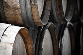 Dark Wine Barrels to store vintage wine — Stock Photo