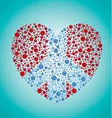 Signe de paix coeur — Vecteur