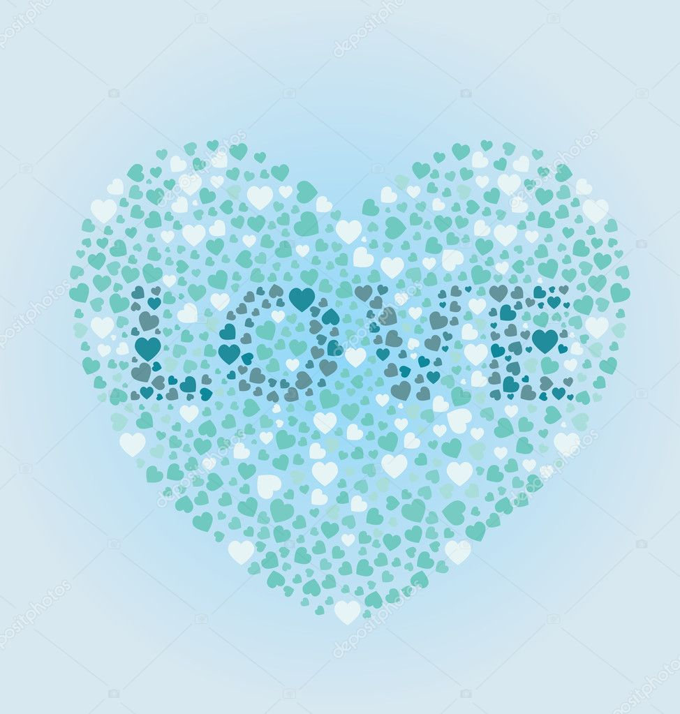 A heart with love written inside of it in the design of a colorblind exam — Stock Vector #10542954