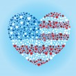 American Flag Heart — Stockvectorbeeld
