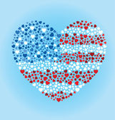 American Flag Heart — Stockvector